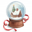 Watercolor illustration of snow globe — Stock Photo #34780439
