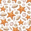 Artistic seamless pattern with watercolor shells and sea stars — Stock Photo #35958773
