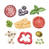 Watercolor illustration of food ingredients — Stock Photo