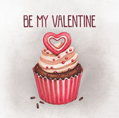 Cupcake for valentines day. Perfect for greeting card — Stock Photo
