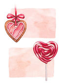 Heart shaped cookies and lollipop for valentines day — Stock Photo