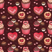 Cookies, cakes and chocolate sweets for valentines day — Foto de Stock