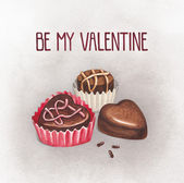 Chocolate sweets for valentines day. Perfect for greeting card — Stock Photo