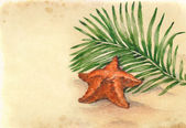 Watercolor illustrations of starfish on tropical beach — Stock Photo