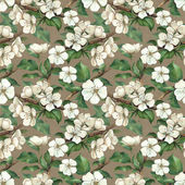 Vintage pattern with watercolor apple flowers — Stock Photo