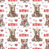 Cute pet toys illustration. Seamles pattern — Foto Stock