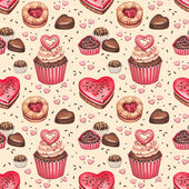 Cookies, cakes and chocolate sweets for valentines day — Stock Photo