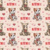 Cute pet toys illustration. Seamles pattern — Stock Photo