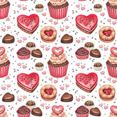 Cookies, cakes and chocolate sweets for valentines day. Seamless — Stock Photo