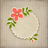 Vector badge with flower in retro style — Stock Vector