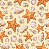 Artistic seamless pattern with watercolor shells and sea stars — Stock Photo