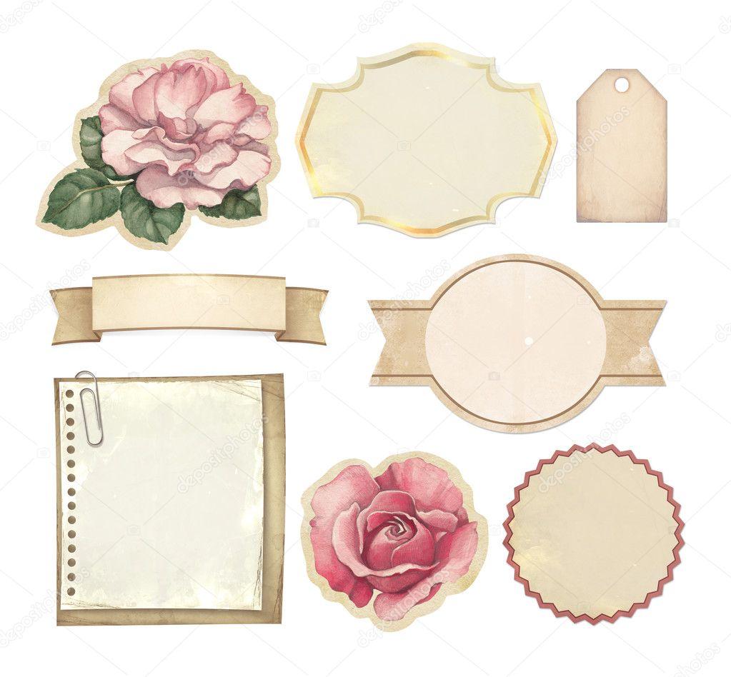 conjunto de etiquetas vintage placa documentos y otros elementos de dise o foto de stock. Black Bedroom Furniture Sets. Home Design Ideas
