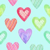 バレンタインの日の水彩画のシームレスなパターン。塗装の心 — ストック写真