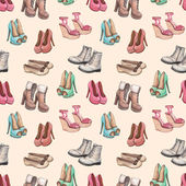 Seamless pattern with shoes illustration — Stock Photo