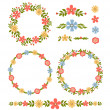 Vintage vector set of floral design elements — Stock Vector #39801113