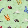 Watercolor insects illustrations. Seamless pattern — Stock Photo