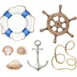 Set of a wattercolor nautical illustrations — Stock Photo
