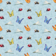 Watercolor insects illustrations. Seamless pattern — Stock Photo #41331035