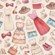 Dresses and accessories pencil drawings. Seamless pattern — Stock Photo #41332207