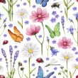 Wild flowers and insects illustration. Watercolor summer pattern — Stock Photo #41332289