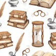 Watercolor vintage books, glasses, sand hourglass and ink pen illustrations — Stock Photo #41334869