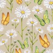 Camomile flowers and butterflies illustration. Watercolor seamless pattern — Stock Photo #41334931