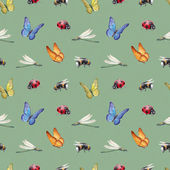 Seamless pattern with watercolor insects illustrations — Stock Photo
