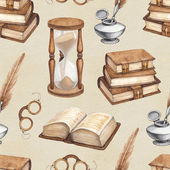 Watercolor vintage books, glasses, sand hourglass and ink pen illustrations — Stock Photo