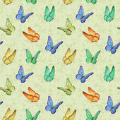 Seamless pattern with watercolor butterfly illustrations — Stock Photo