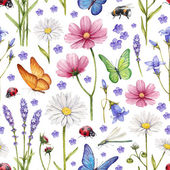 Wild flowers and insects illustration. Watercolor summer pattern — Stock Photo