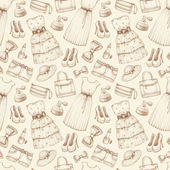 Dresses and accessories pencil drawings. Seamless pattern — Zdjęcie stockowe