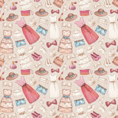 Dresses and accessories pencil drawings. Seamless pattern — Stock Photo