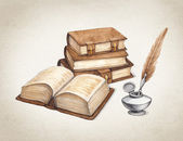 Watercolor vintage books  illustration — Stock Photo