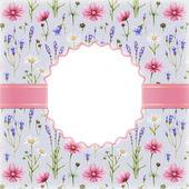 水彩花卉艺术背景 — 图库照片