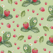 Pattern with watercolor strawberry — Stock Photo
