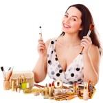 Girl applying makeup. — Stock Photo #10540792