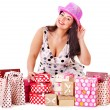 Woman holding gift box at birthday party. — Stock Photo #11833767