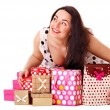 Woman holding gift box at birthday party. — Stock Photo #11833772