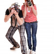 Professional photographer with digital camera. - Stock Photo