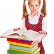 Child with stack book. — Foto Stock