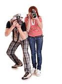 Professional photographer with digital camera. — Stock Photo