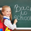 Foto Stock: Schoolchild writting on blackboard.