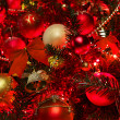 Christmas  background with red tree. - Stock Photo