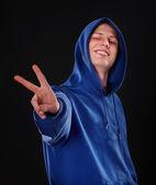 Man in blue sportswear. — Stock Photo