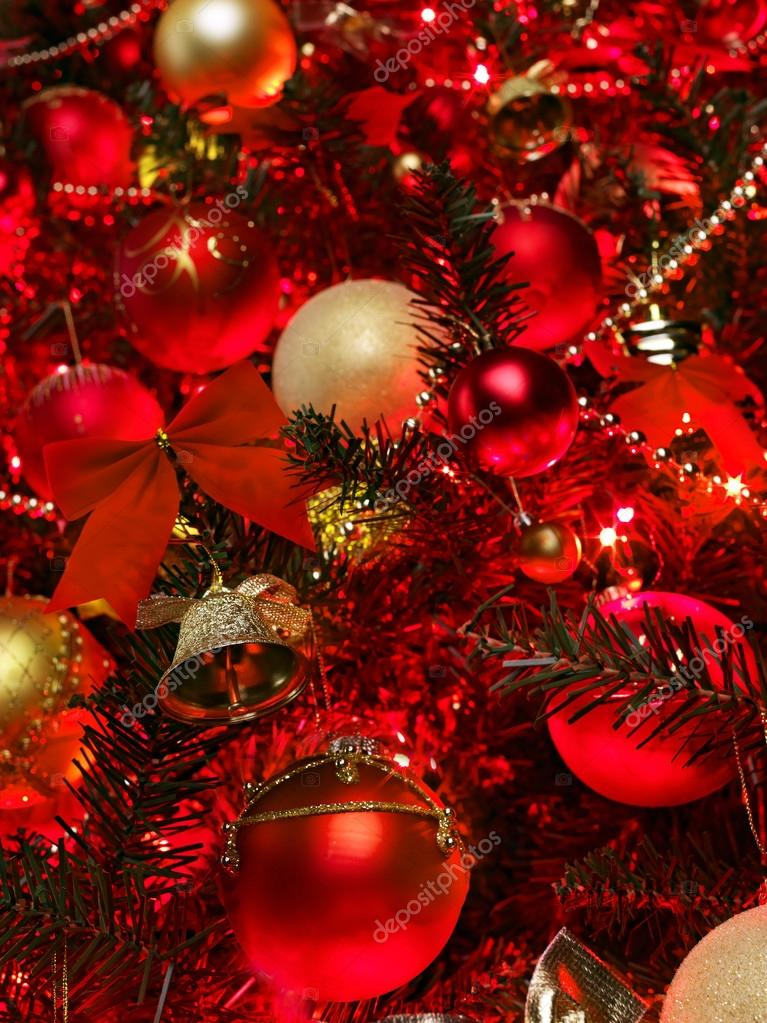 Christmas  background with red and gold ball. Abstract.  Stockfoto #12070435
