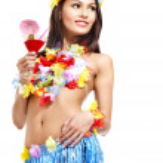 mujer en traje de hawaii — Foto de Stock