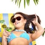 Girl in bikini drinking cocktail. — Stock Photo #12099880