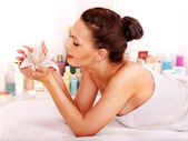 Woman getting facial massage . — Stockfoto