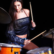 Woman playing drum and cymbals. — Stock Photo #12100033