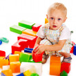 Children play building blocks. — Stockfoto